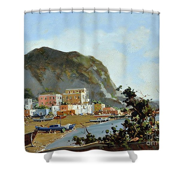 Shower Curtain featuring the painting Sea And Mountain With Boats by Rosario Piazza