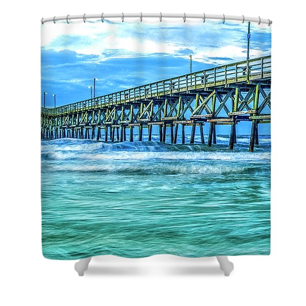 Sea Blue Cherry Grove Pier Shower Curtain
