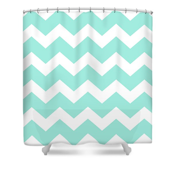 Sea Green Chevron Pattern Shower Curtain