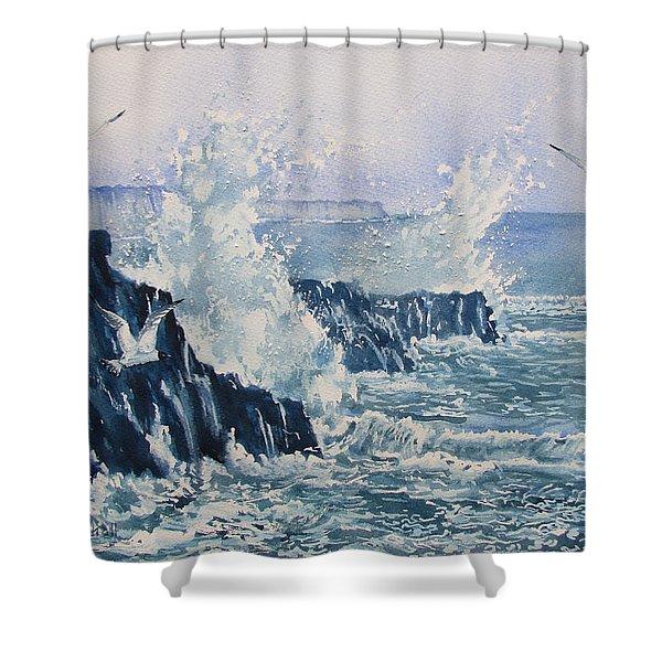 Sea, Splashes And Gulls Shower Curtain