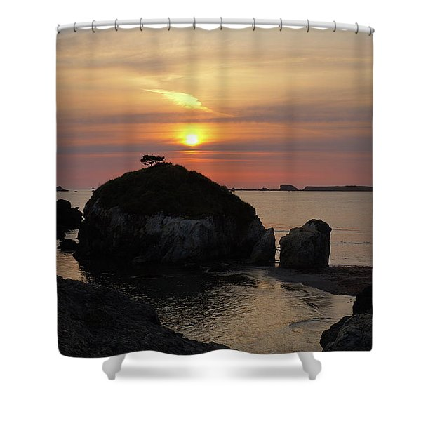 Sea Stack Sunset Shower Curtain