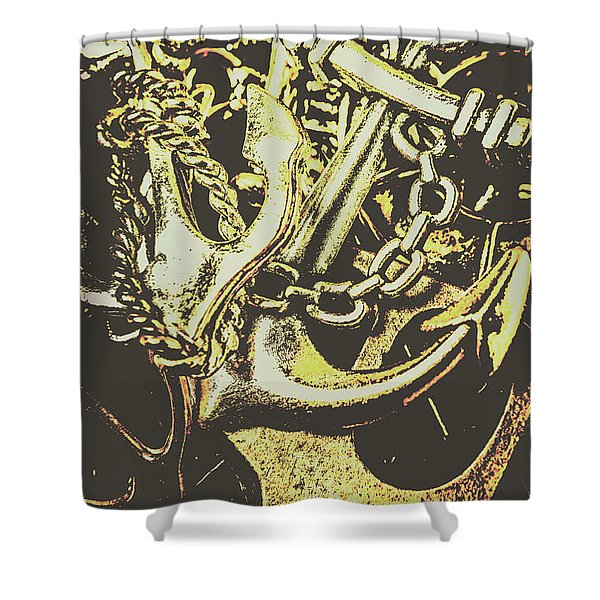 Sea Tides And Maritime Anchors Shower Curtain