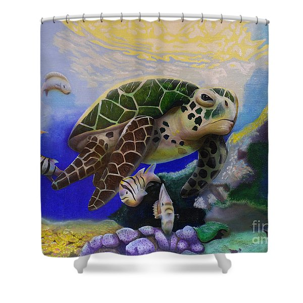 Sea Turtle Acrylic Painting Shower Curtain