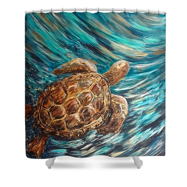 Sea Turtle Wave Guam Shower Curtain