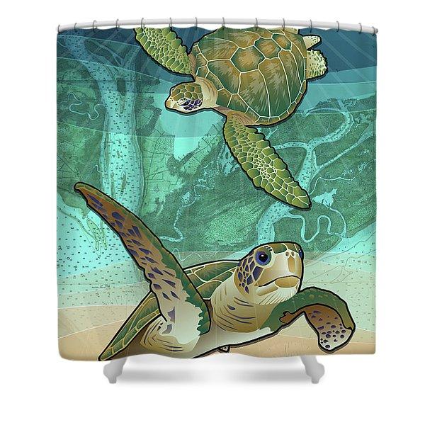 Sea Turtles Near Beaufort, Sc Shower Curtain