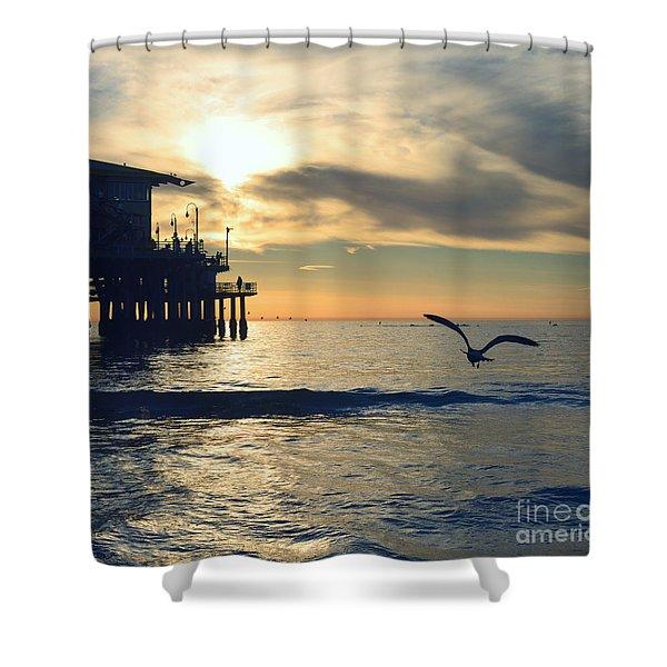 Seagull Pier Sunrise Seascape C2 Shower Curtain