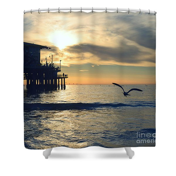 Seagull Pier Sunrise Seascape C2 Shower Curtain