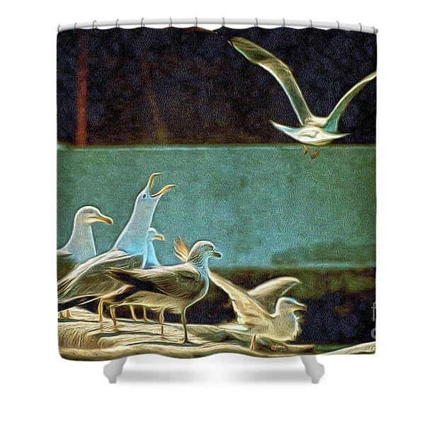 Seagulls On The Beach Shower Curtain