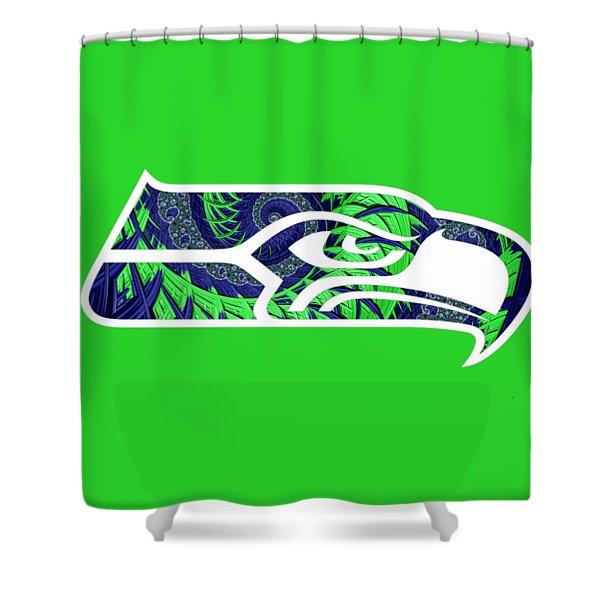 Seahawks Fractal Shower Curtain