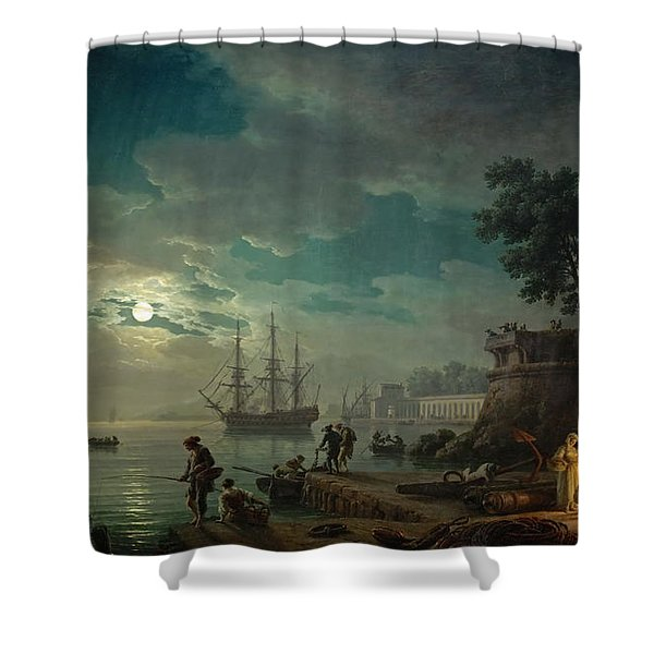 Seaport By Moonlight Shower Curtain