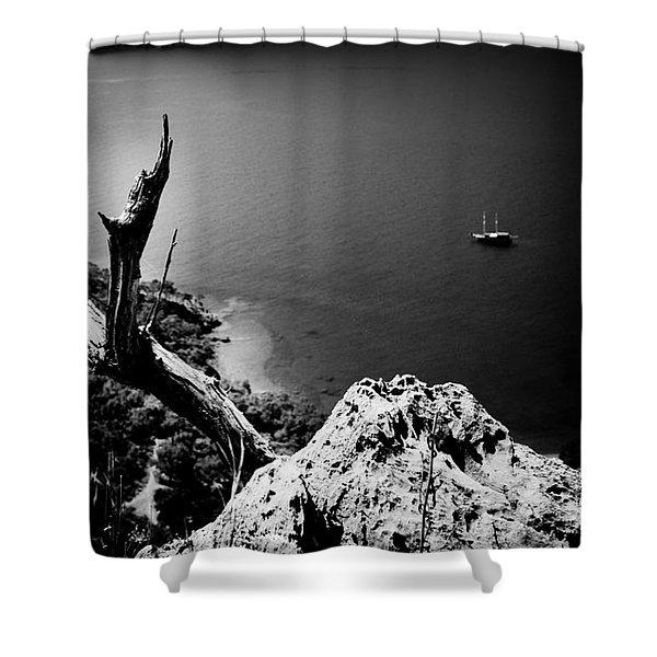Shower Curtain featuring the photograph Seascape Artmif.lv Adrasan by Raimond Klavins