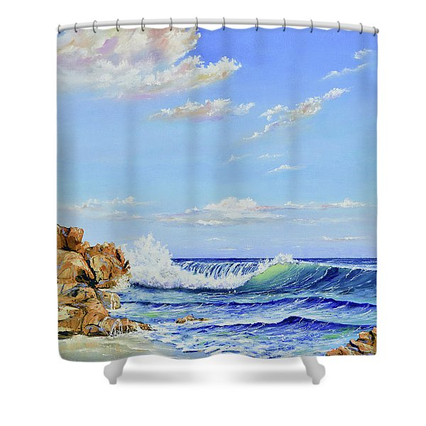 Shower Curtain featuring the painting Seascape Beach by Mary Scott