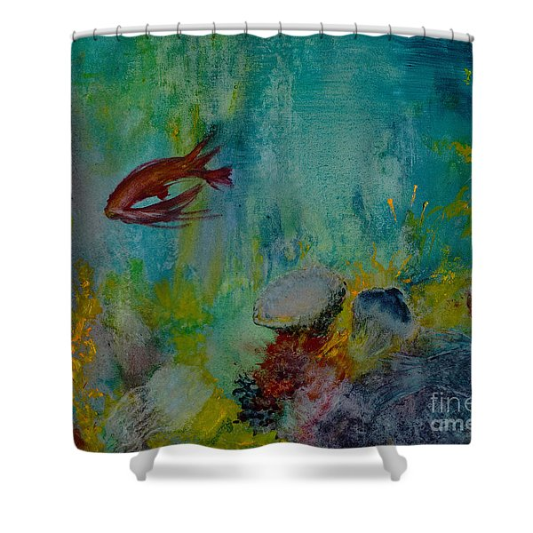 Shower Curtain featuring the painting Seascape by Karen Fleschler