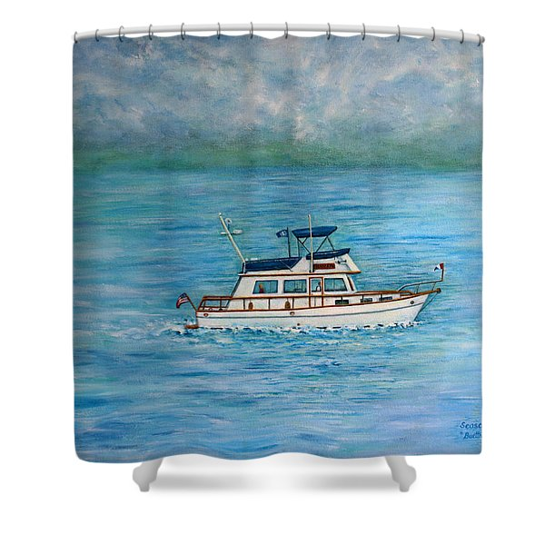 Shower Curtain featuring the painting Seascape by Lynn Buettner