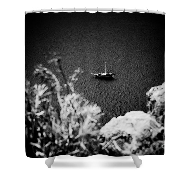 Seascape With Boat Artmif.lv Balck And White Shower Curtain