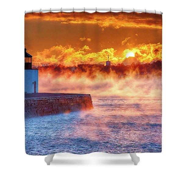Seasmoke At Salem Lighthouse Shower Curtain