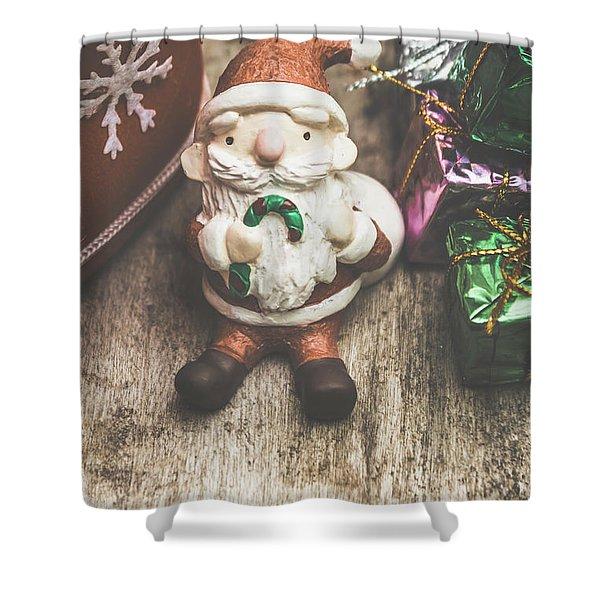Seasons Greeting Santa Shower Curtain
