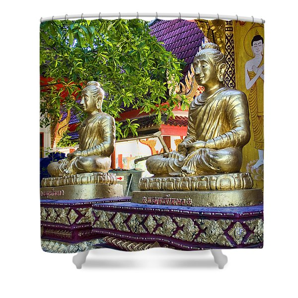 Seated Buddhas Shower Curtain
