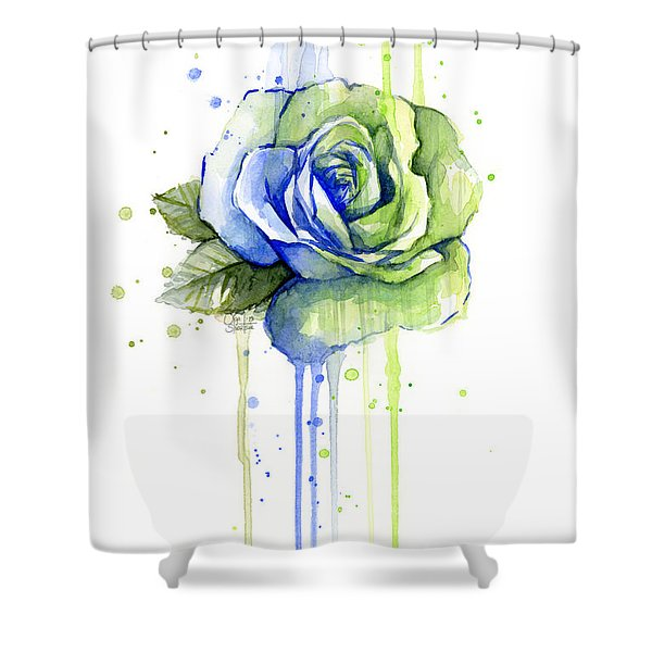 Seattle 12th Man Seahawks Watercolor Rose Shower Curtain