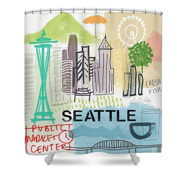 Seattle Cityscape- Art By Linda Woods Shower Curtain