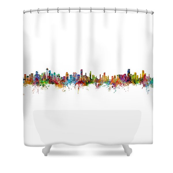 Seattle, Honolulu And Miami Skylines Mashup Shower Curtain