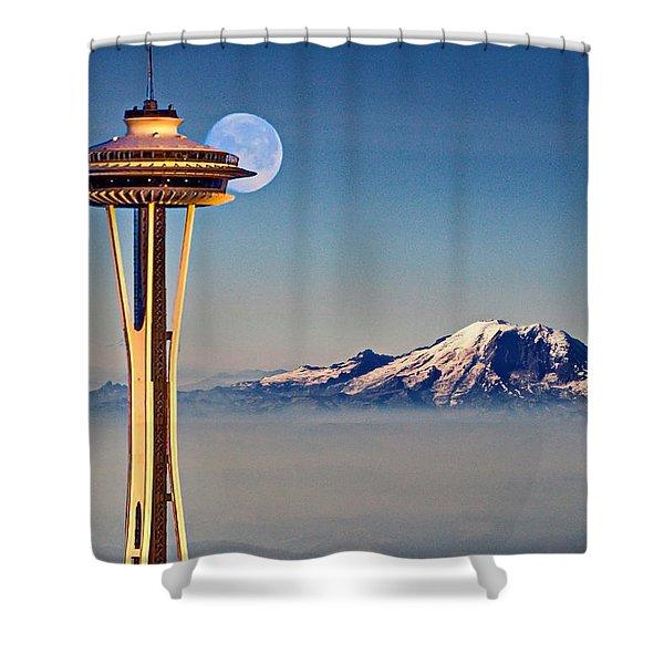 Seattle Needle At Moonrise Shower Curtain