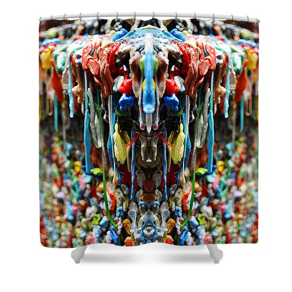 Seattle Post Alley Gum Wall Reflection Shower Curtain