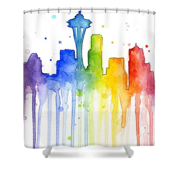 Seattle Rainbow Watercolor Shower Curtain