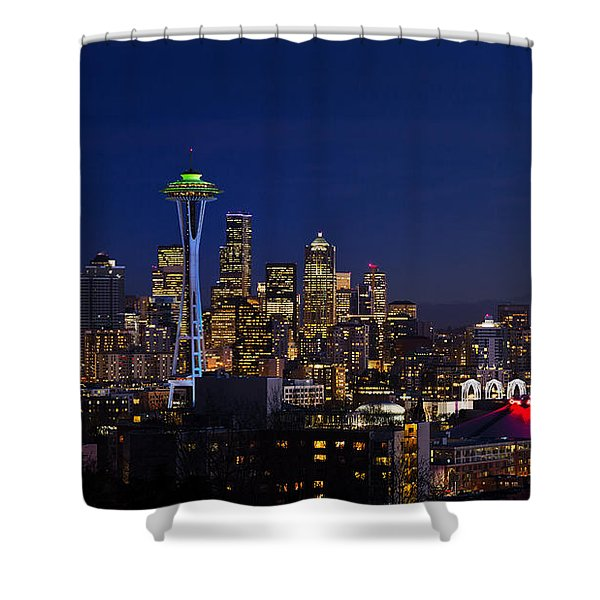 Shower Curtain featuring the photograph Seattle Seahawks Space Needle by Mary Jo Allen