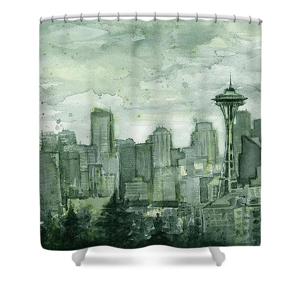 Seattle Skyline Watercolor Space Needle Shower Curtain