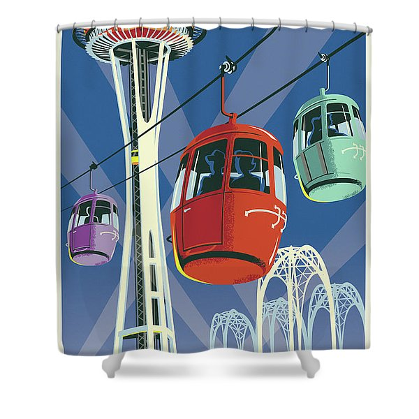 Seattle Poster- Space Needle Vintage Style Shower Curtain
