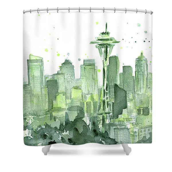Seattle Watercolor Shower Curtain