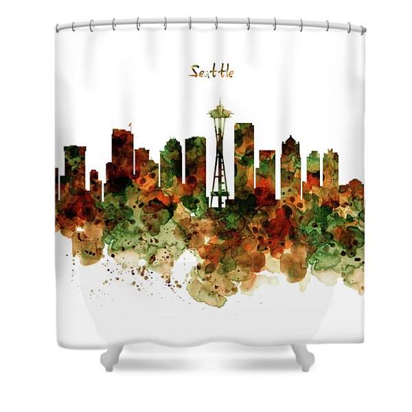 Seattle Watercolor Skyline Poster Shower Curtain