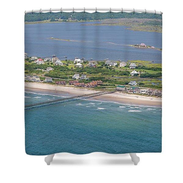 Seaview Fishing Pier Topsail Island Shower Curtain