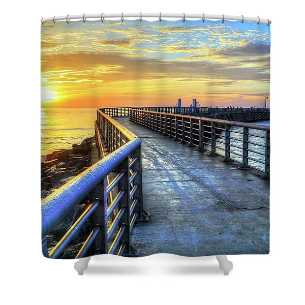Sebastian Inlet Pier Along Melbourne Beach Shower Curtain