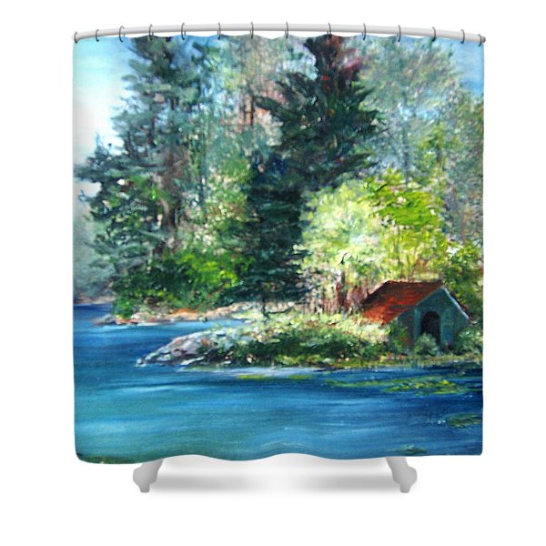 Secluded Boathouse-millsite Lake  Shower Curtain