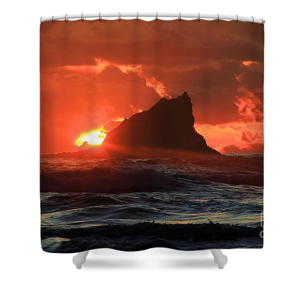 Second Beach Shark Shower Curtain