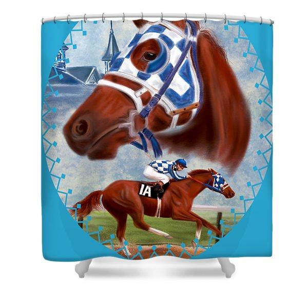 Secretariat Racehorse Portrait Shower Curtain