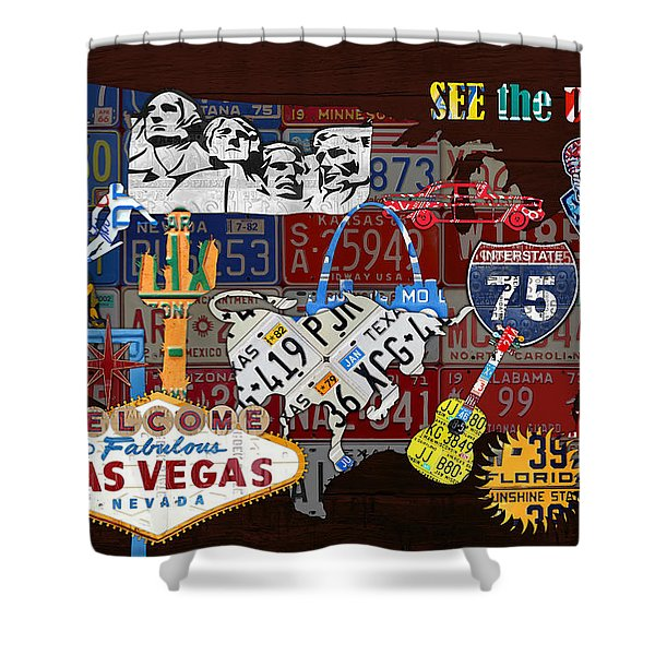 See The Usa Vintage Travel Map Recycled License Plate Art Of American Landmarks Shower Curtain