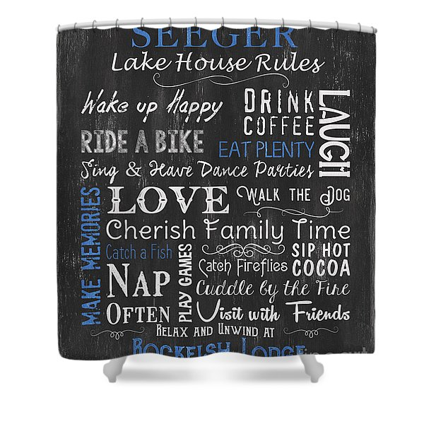 Seeger Lake House Rules Shower Curtain
