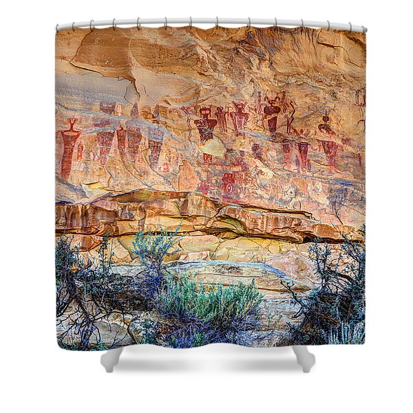 Sego Canyon Indian Petroglyphs And Pictographs Shower Curtain