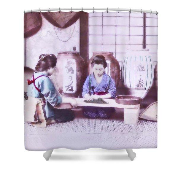 Selecting Tea Shower Curtain