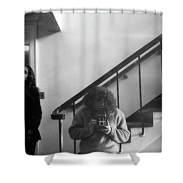Self-portrait, With Woman, In Mirror, Cropped, 1972 Shower Curtain