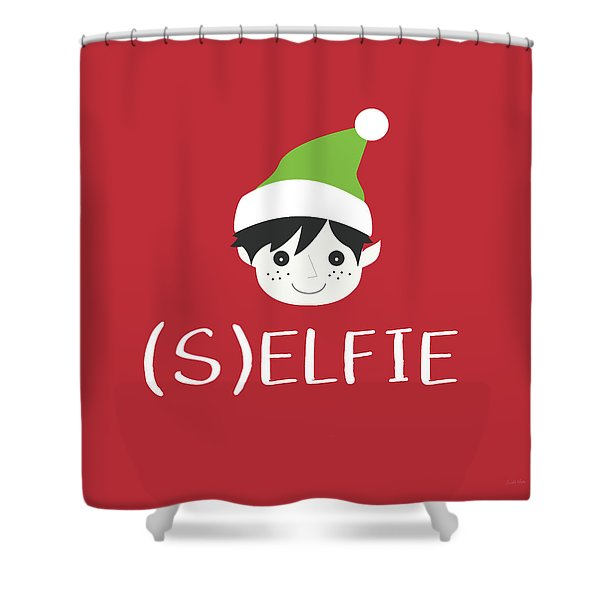 Selfie Elf- Art By Linda Woods Shower Curtain