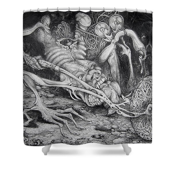 Selfpropelled Beastie Seeder Shower Curtain