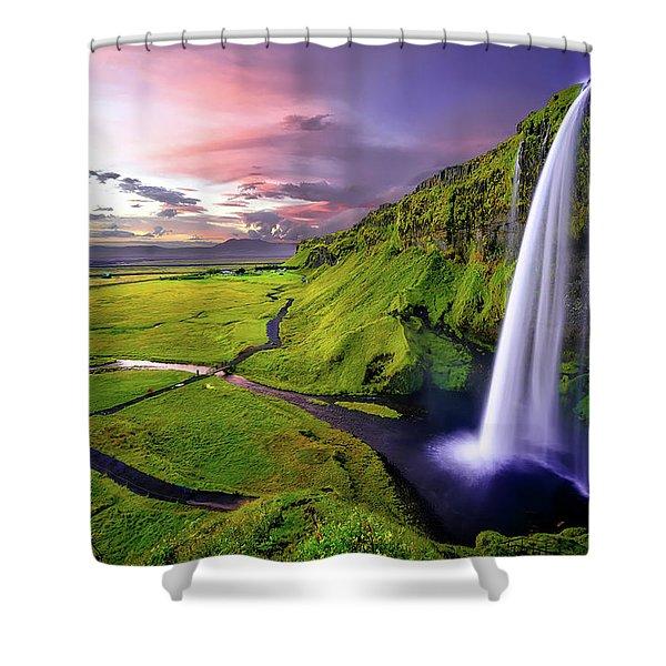 Seljalandsfoss Waterfall Shower Curtain