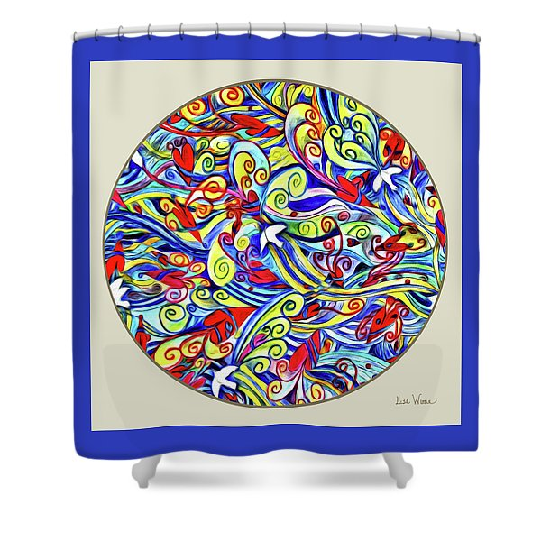Semi Abstract Paintings Button Shower Curtain