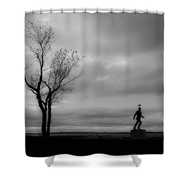 Shower Curtain featuring the photograph Senator Chafee And The Tree by Nancy De Flon