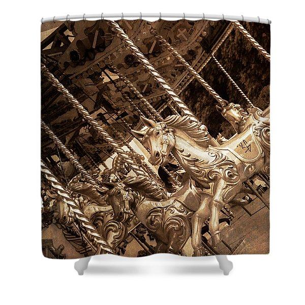 Sepia Carousel Horse Shower Curtain