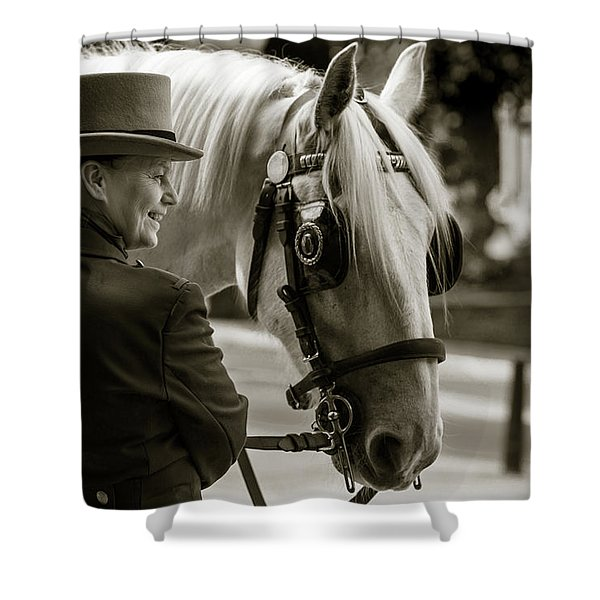 Sepia Carriage Horse With Handler Shower Curtain